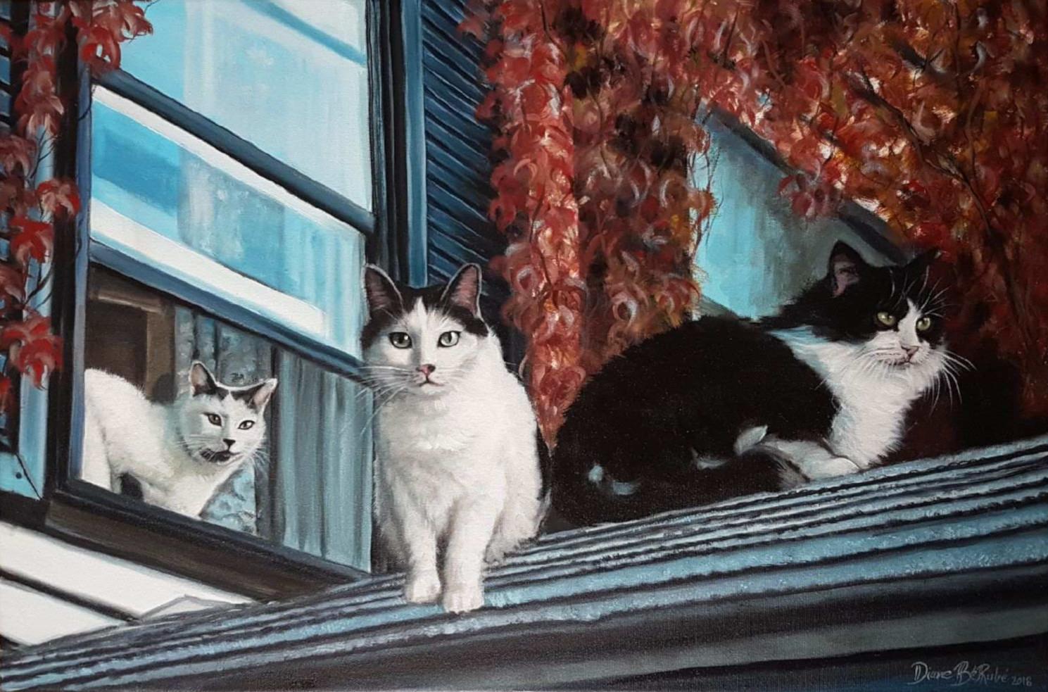 Animalier-chats-huile-diane-berube